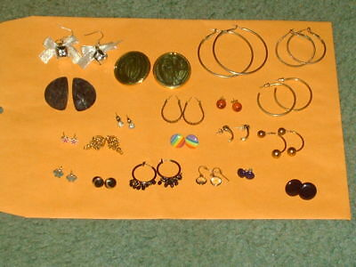 Estate sale jewelry lot of 20 pairs of vintage to now earrings