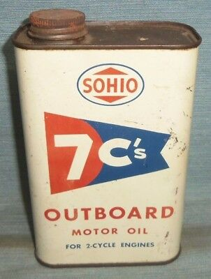 Vintage Sohio 7C's Outboard Motor Oil Metal Quart Can