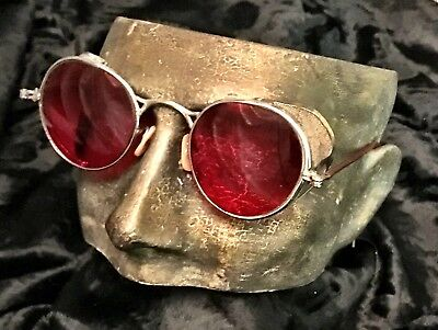 Antique Welsh Red Lens Safety Glasses Goggles Steampunk Aviator Motorcycle