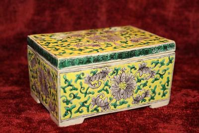 Rare Antique Chinese SanCai Famille Verte Square Biscuit Box & Cover Kangxi