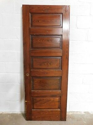 1800's Antique Wooden DOOR Interior Five Panel Raised Victorian Style Fir ORNATE