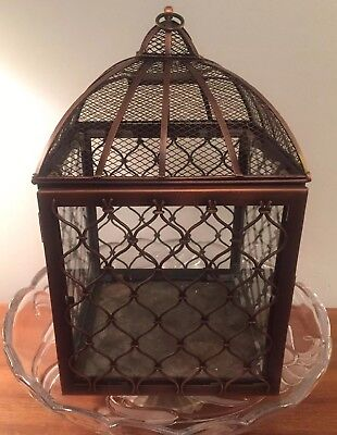"""Decorative Metal (brass Look) And Glass Bird Cage 13x8x8"""""""