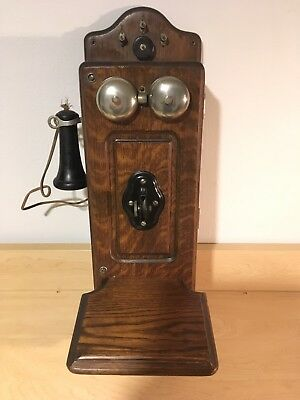 VINTAGE ANTIQUE WESTERN ELECTRIC OAK WALL PHONE ORIGINAL 1800 PATS NR.1900's