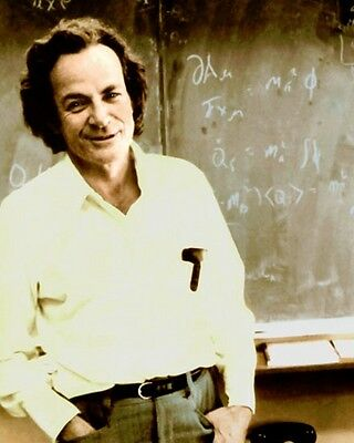 RICHARD FEYNMAN PHYSICIST QUANTUM MECHANICS 8x10 HAND COLOR TINTED PHOTO