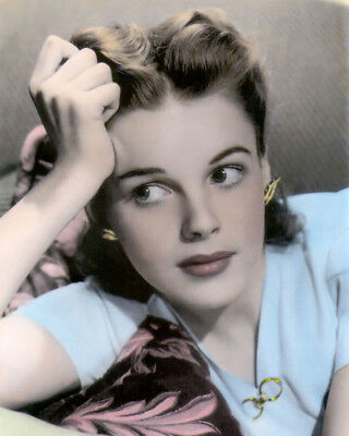 "JUDY GARLAND HOLLYWOOD ACTRESS & SINGER 8x10"" HAND COLOR TINTED PHOTOGRAPH"