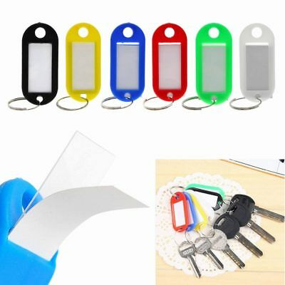 10*Colorful Plastic Key Tags Assorted Key Rings ID Tags Name Card Fob Label