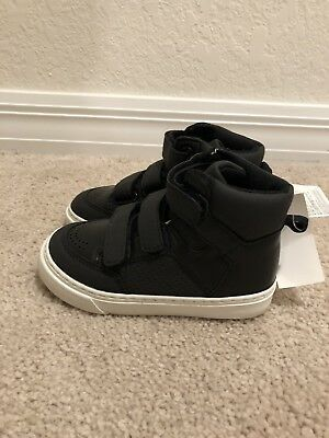 Baby Gap Boy's Black Faux Leather Hi-Top Trainer Shoes Sz 7 Toddler NWT