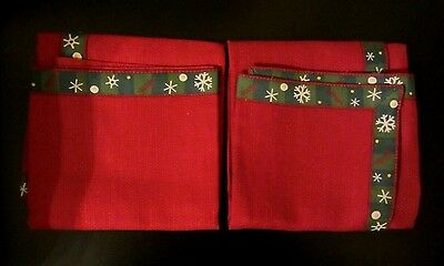 Longaberger PAPRIKA Napkins HOLIDAY NIB  Set of 2 Snowflake Trim NIB