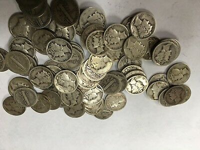 Mercury Dimes All Are 1920's 90% Silver Price Listed Is Per Coin