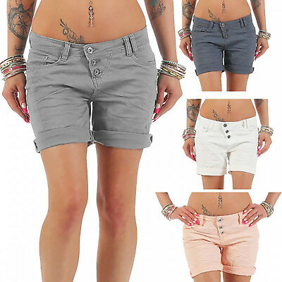 AU Women's Low Rise Turn up Plus Size Denim Look Casual Stretch Hot Pants Shorts