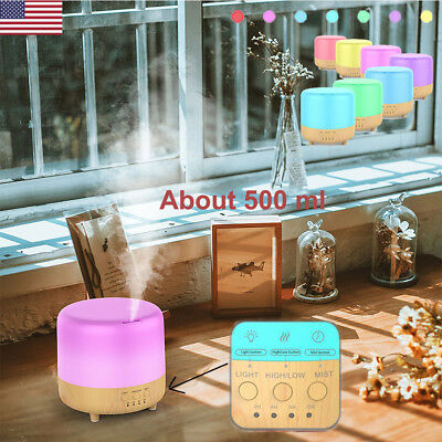 500ml Essential Oil Diffuser Humidifier Ultrasonic Air Mist 7 LED Light Colors