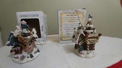 2 Kringles Village House Ornaments/w Boxes Boyd Bearly Built Villages 4""