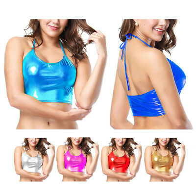 Women Sexy Wet Look Bra Crop Top Backless Night Club Party Costume