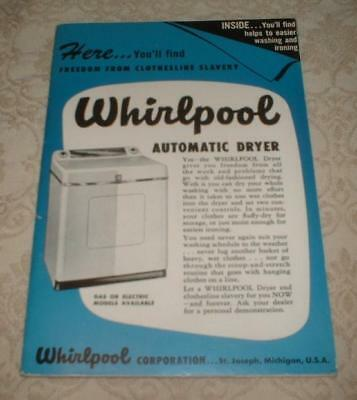 Vintage 1949 Whirlpool Automatic Gas Electric Dryer Lever Brothers Manual Book
