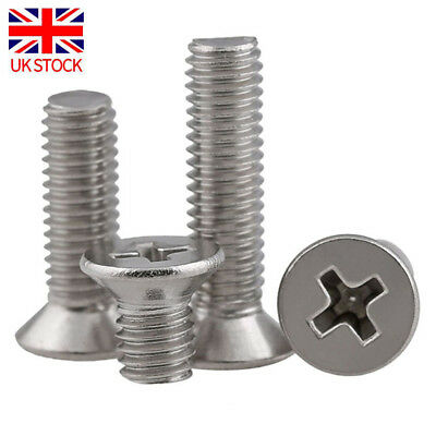M6 Phillips Head Screws - 304 Countersunk Stainless Machine Self Tapping Screw