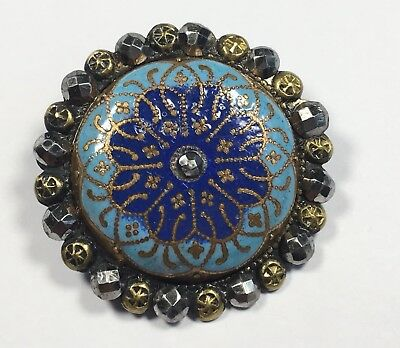 Exquisite Antique Vtg French Champleve Metal Enamel BUTTON w/ Cut Steel Border
