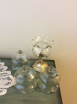 Home Interior / Homco Set Of 4 Clear Ruffle/fluted Votive Cups / Candle Holders