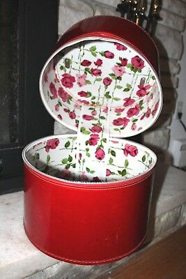 Red Vintage Large Hat Box Collectible Pink Rose Lined Storage Container w/Handle