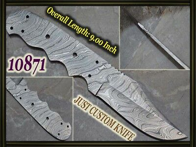 "9""Custom made Rare Damascus hunting blank blade knife making suppliers 10871"