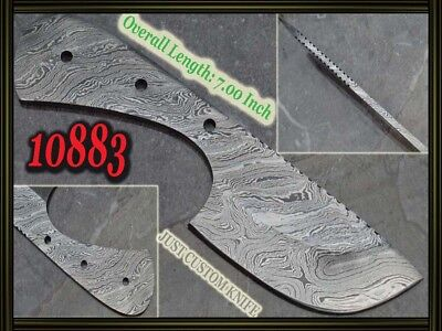 "7""Custom made Rare Damascus hunting blank blade knife making suppliers 10883"