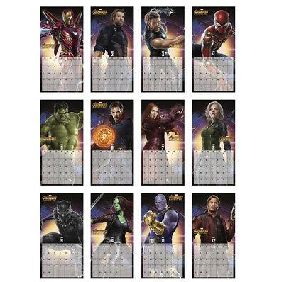 2019 Wall Calendar MARVEL AVENGERS INFINITY WAR Movie Heroes High Quality Paper