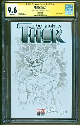 The Mighty Thor #1 Loki Original Art Inked Sketch Signed Joe Sinnott CGC 9.6