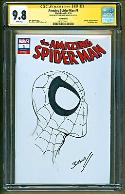 Amazing Spider-Man #1 Original Head Sketch Art & Signed Mark Bagley SS CGC 9.8