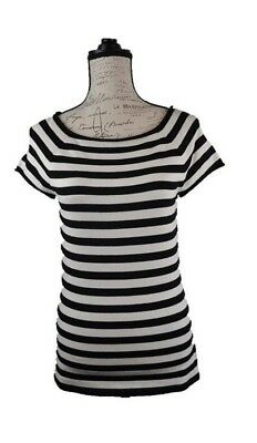 Anne Klein Women's Top Striped Pattern Fitted Casual Office Fashion Size Medium