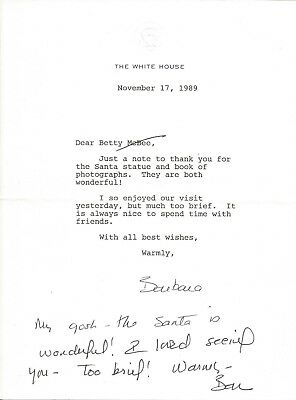 BARBARA BUSH (Mrs. George H. W.) friendly typed signed letter as First Lady 1989