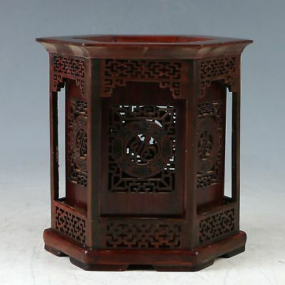 100% Natural Rosewood Hand Carved Hollow Brush Pot ZJ314