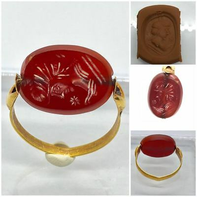 (4.42g)24k Gold Rare rotate magic Ring Ancient Roman KING Seal RED Agate stone