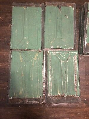 "Lot Of 15 Vintage Green Roofing Tin Shingle Shield Embossed 13 1/2"" X 9 1/2"""