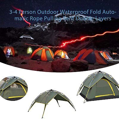 3-4 Person Double Layers Folding Tent Outdoor Camping Waterproof  Hiking PJ