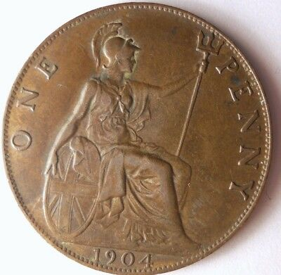 1904 GREAT BRITAIN PENNY - Excellent Coin - FREE SHIP - Britain Bin #A