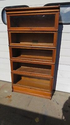 Antique Oak Stacking Bookcase  5 sections plus top and base
