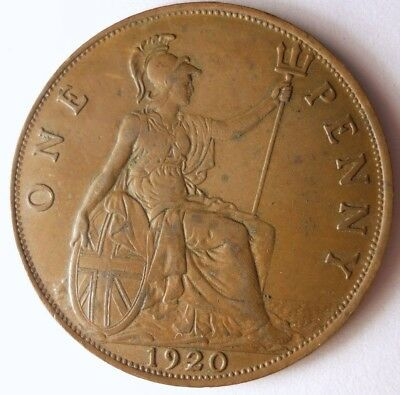 1920 GREAT BRITAIN PENNY - Excellent Coin - FREE SHIP - Britain Bin #A