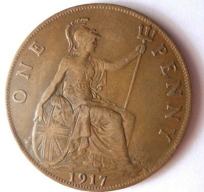 1917 GREAT BRITAIN PENNY - Excellent Coin - FREE SHIP - Britain Bin #A