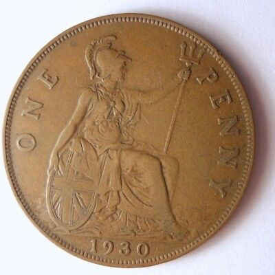 1930 GREAT BRITAIN PENNY - Excellent Coin - FREE SHIP - Britain Bin #A