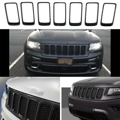 7PCS Black Front Insert Mesh Grille Cover Trims for Jeep Grand Cherokee 2014-16
