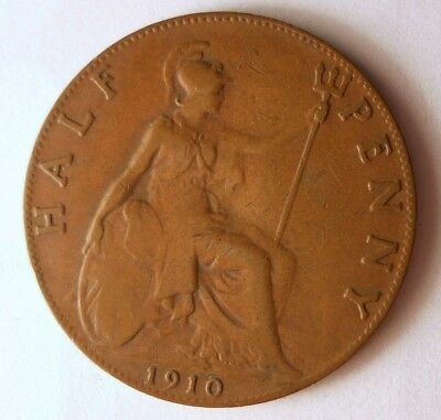 1910 GREAT BRITAIN 1/2 PENNY - Excellent Coin - FREE SHIP - Britain Bin #A