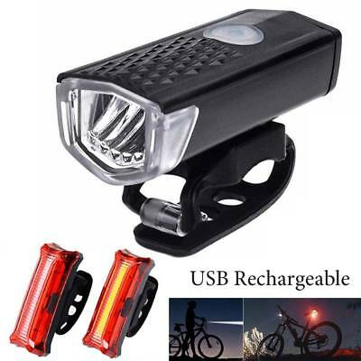 USB Rechargeable Bike Bicycle Light LED Waterproof Front Rear Tail Warning Lamp