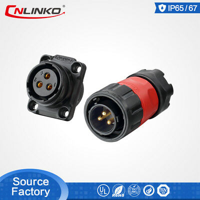 Cnlinko 3 Pin M20 12V Waterproof Connector Male Female Plug Panel Mount Socket