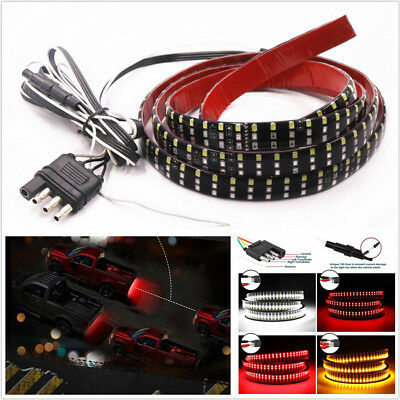 "12-16V 3-Row Red+Amber+White 432LED 60""Car Tailgate Light Brake Turn Signal Lamp"
