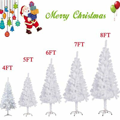 4/5/6/7/8 FT Tall Christmas Tree W/Stand Holiday Season Indoor Outdoor White AS