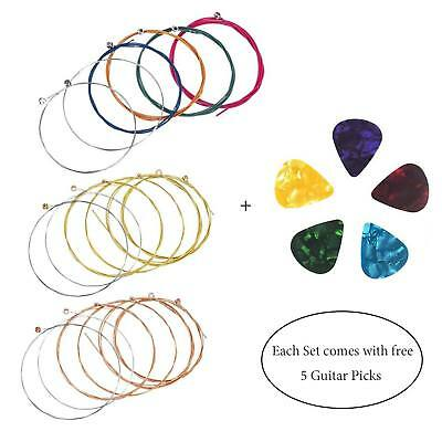 6Pcs Acoustic Classic Steel Guitar Strings Medium Gauge Replacement + 5 Plectrum