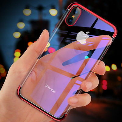 For iPhone XS Max XR X 8 7 6 Plus Plating Soft Silicone Hybrid Clear Case Cover