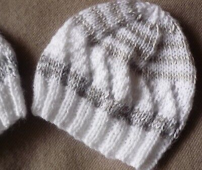 Baby Beanie, Extra Soft White with Grey. Premie Baby. Hand-knitted by me. Summer