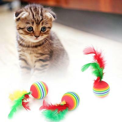 Pet Cat Toy Rainbow Ball With Feather Colorful Foam Ball Dental Tooth Care Tool