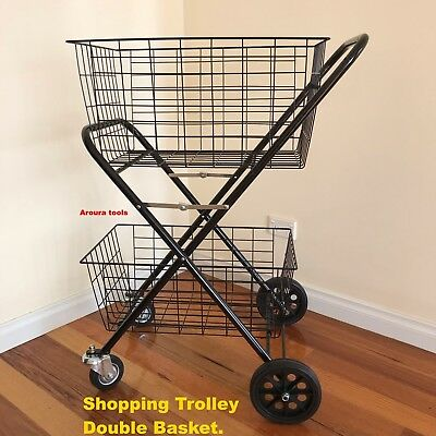 Shopping Trolley Double Basket with swivel front Steering wheels - Brand New