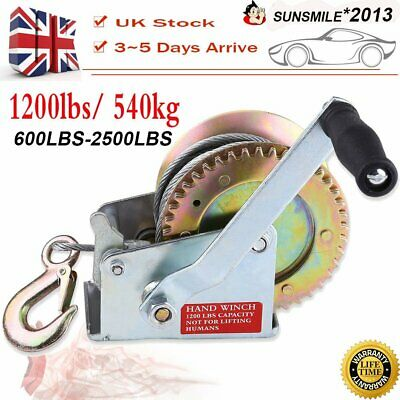 25000LBS 1200LBS Hand Winch 8M Steel Wire Cable 540KG Gear Crank Hook Trailer